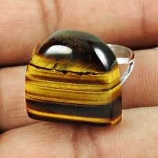 925 Sterling Silver Fashion Jewellery Stunning Tiger Eye Gemstone Ring
