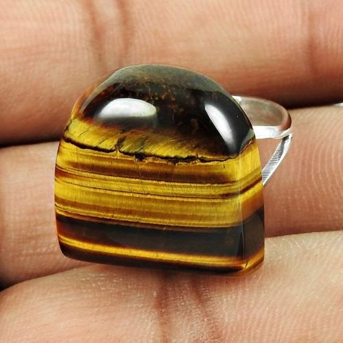 925 Sterling Silver Fashion Jewellery Stunning Tiger Eye Gemstone Ring