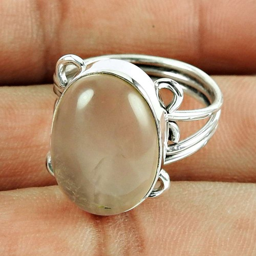925 Sterling Silver Jewellery Scrumptious Rose Quartz Gemstone Ring