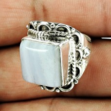 925 Sterling Silver Vintage Jewellery Dainty Blue Lace Agate Gemstone Ring