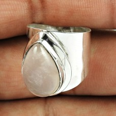 925 Sterling Silver Vintage Jewellery Pleasing Rose Quartz Gemstone Ring