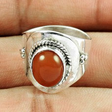 925 Sterling Silver Jewellery Engaging Carnelian Gemstone Ring