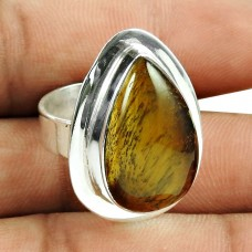 925 Sterling Silver Fashion Jewellery Rare Tiger Eye Gemstone Ring