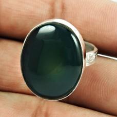 925 Sterling Silver Vintage Jewellery Dainty Green Jasper Gemstone Ring