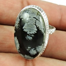 925 Sterling Silver Jewellery Engaging Snowflake Obsidian Gemstone Ring