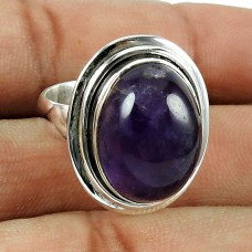 Party Wear Amethyst Gemstone Ring 925 Sterling Silver Fashion Jewellery