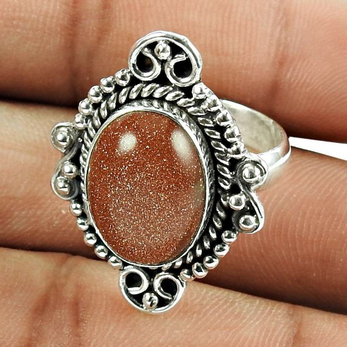 Lovely Red Sunstone Sterling Silver Ring Indian Sterling Silver Jewellery