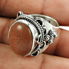 Graceful Red Sunstone Sterling Silver Ring 925 Silver Jewellery
