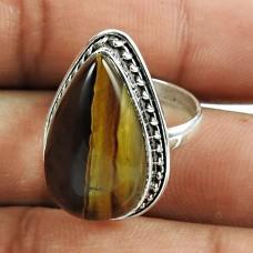 Lustrous Tiger Eye Gemstone Sterling Silver Ring 925 Sterling Silver Fashion Jewellery