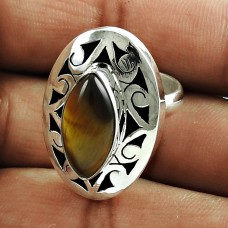 Sightly Tiger Eye Gemstone Sterling Silver Ring Indian Sterling Silver Jewellery