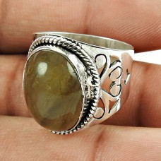 Personable Rutile Gemstone Sterling Silver Ring 925 Silver Jewellery