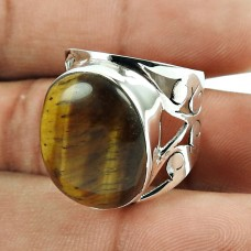 Amusable Tiger Eye Gemstone Sterling Silver Ring 925 Sterling Silver Jewellery
