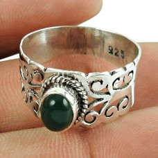 Scrumptious Green Onyx Gemstone Sterling Silver Ring 925 Sterling Silver Jewellery