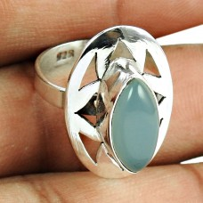 Dainty Chalcedony Gemstone Sterling Silver Ring 925 Sterling Silver Vintage Jewellery