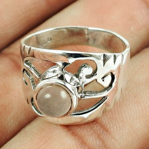 Lustrous Rose Quartz Gemstone Sterling Silver Ring 925 Sterling Silver Fashion Jewellery