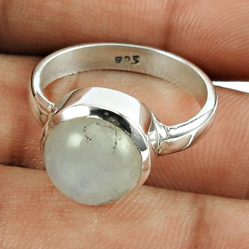 Possessing Good Fortune 925 Sterling Silver Rainbow Moonstone Gemstone Ring Traditional Jewelry