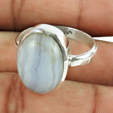 Daily Wear 925 Sterling Silver Blue Lace Agate Gemstone Ring Jewellery