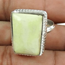 Personable 925 Sterling Silver Serpentine Gemstone Ring Jewellery