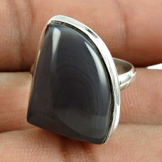 Lustrous 925 Sterling Silver Botswana Agate Gemstone Ring Ethnic Jewellery
