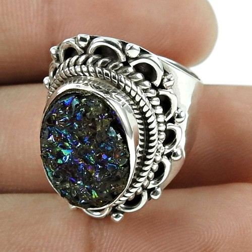 Handy 925 Sterling Silver Titanium Druzy Gemstone Ring Ethnic Jewellery