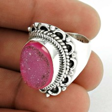 Pleasing 925 Sterling Silver Pink Druzy Ring Jewellery