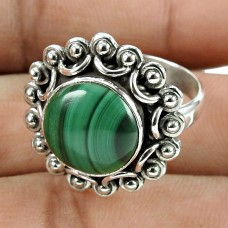 Scenic Malachite Gemstone 925 Sterling Silver Ring Jewellery