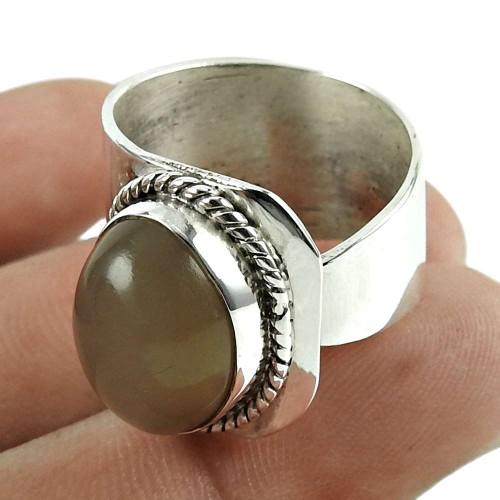 Rattling Moon Stone Gemstone 925 Sterling Silver Ring Jewellery