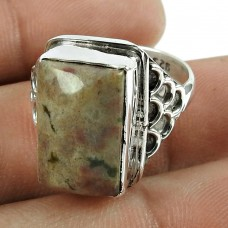 Fashion 925 Sterling Silver Jasper Gemstone Ring Antique Jewellery