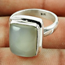 Charming 925 Sterling Silver Moon Stone Gemstone Ring Vintage Jewellery