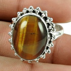 Lovely 925 Sterling Silver Tiger Eye Gemstone Ring Vintage Jewellery
