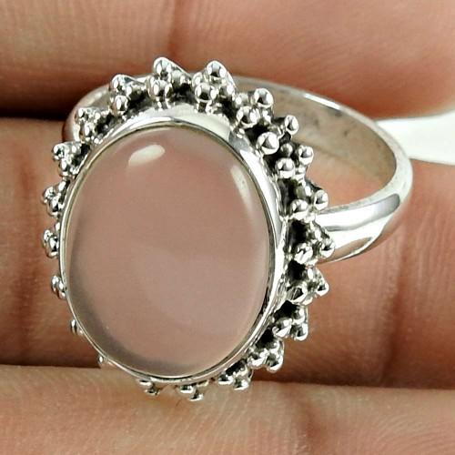 Secret Vision !! 925 Sterling Silver Rose Quartz Gemstone Ring Jewellery