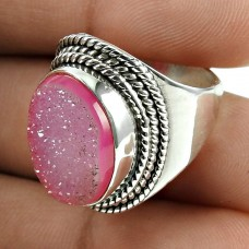 Truly Magic !! 925 Sterling Silver Pink Druzy Ring Jewellery
