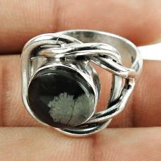 Scrumptious 925 Sterling Silver Snowflake Obsidian Gemstone Ring Jewellery