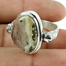 Fashion 925 Sterling Silver Picture Jasper Gemstone Ring Antique Jewelry
