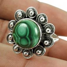 Seductive !! 925 Sterling Silver Malachite Gemstone Ring Vintage Jewellery