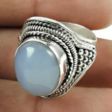 Pleasing 925 Sterling Silver Chalcedony Gemstone Ring Jewellery