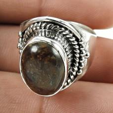 Sightly 925 Sterling Silver Bronzite Gemstone Ring Vintage Jewellery