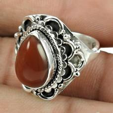Perfect 925 Sterling Silver Carnelian Gemstone Ring Jewellery
