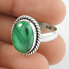 Personable 925 Sterling Silver Malachite Gemstone Ring Jewellery