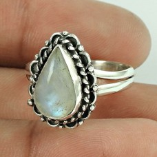 Large!! 925 Silver Rainbow Moonstone Ring Manufacturer India