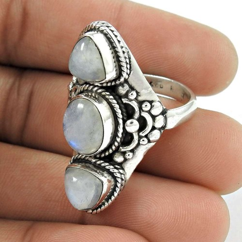 Large Stunning 925 Sterling Silver Rainbow Moonstone Gemstone Ring