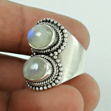 Love At First Sight Light ! 925 Sterling Silver Rainbow Moonstone Ring