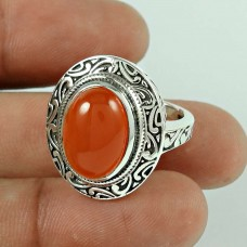 Big Delicate!! Carnelian 925 Sterling Silver Ring Supplier India