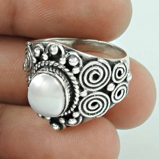 Passionate Modern Style Of! 925 Silver Pearl Ring