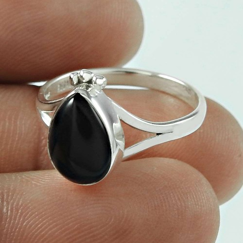 Delicate Light! 925 Silver Black Onyx Ring
