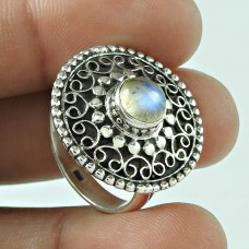 Modern Style! 925 Silver Rainbow Moon Stone Ring