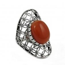 Gorgeous Orange Carnelian 925 Silver Ring