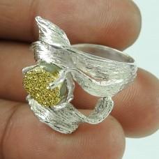 Beautiful Golden Druzy 925 Sterling Silver Ring Jewellery