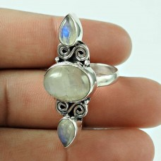 Perfect! 925 Silver Rainbow Moon Stone Ring Grossiste