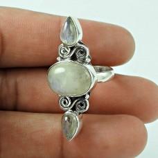 Stylish! 925 Silver Rainbow Moon Stone Ring